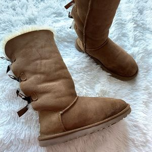 UGG Tall Bailey Bow Tan Winter Boots Fleece Line 5